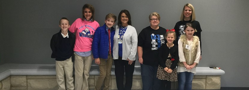 """Principal for a Day"" Cameron Hinkle, ""Superintendent for a Day"" Noah-Blake Elza, ""Secretary for a Day"" Temperance Jones, and ""Librarian for a Day"" Maddie Belle Brewer."