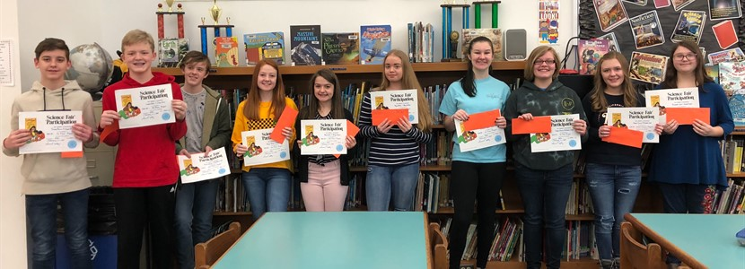 2019 East Bernstadt 8th Grade Science Fair Project Winners