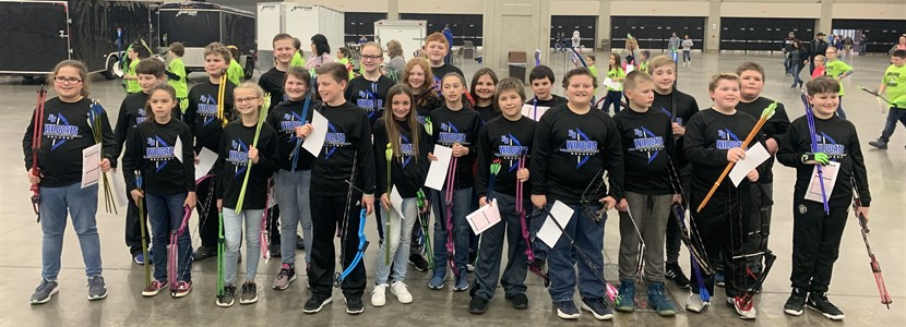 EB Elementary Archery Team in Louisville at the 2019 KY NASP State Archery Tournament