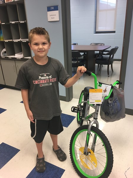 Noah Hamm had perfect attendance during the 2016-17 school year.  His name was pulled from a drawing to win a bicycle!!
