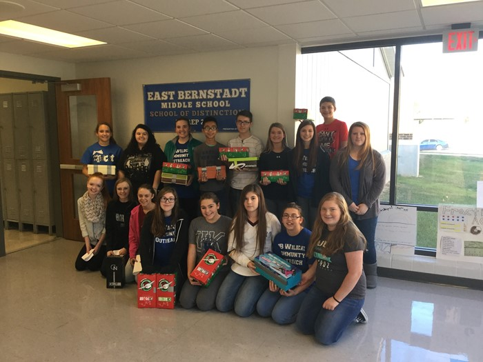 East Bernstadt Community Outreach club filled 13 shoeboxes for Operation Christmas Child.