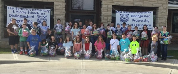 The East Bernstadt Middle School students were challenged to provide Easter surprises for forty-seven other younger children who would otherwise not receive Easter baskets. They, with the help of the community, met this challenge. They gave from their hearts and ensured that these students would have a very Happy Easter.