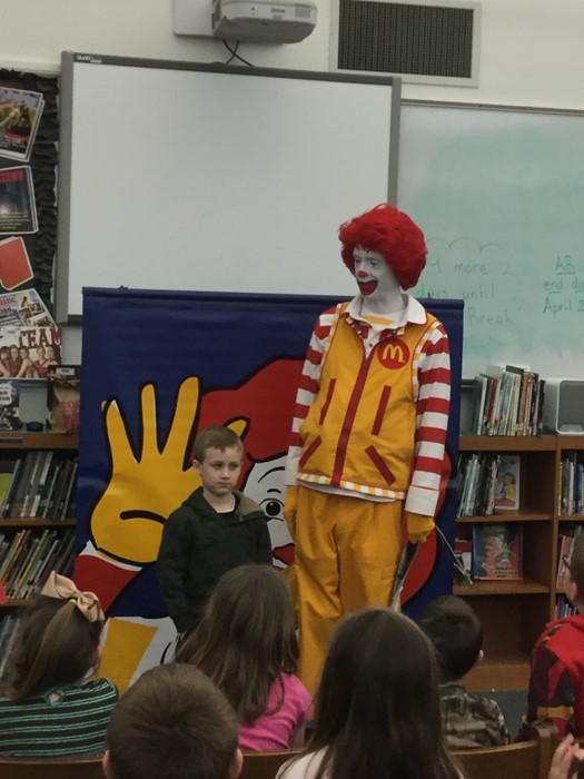 Ronald McDonald visited the school library on March 20th to get the students excited about reading books and visiting the library!