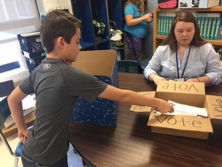 Students in Mrs. VanHook's 4th and 5th grade Social Studies classes participated in a mock presidential election on Monday, November 7th.  Donald Trump and Rand Paul won the election.