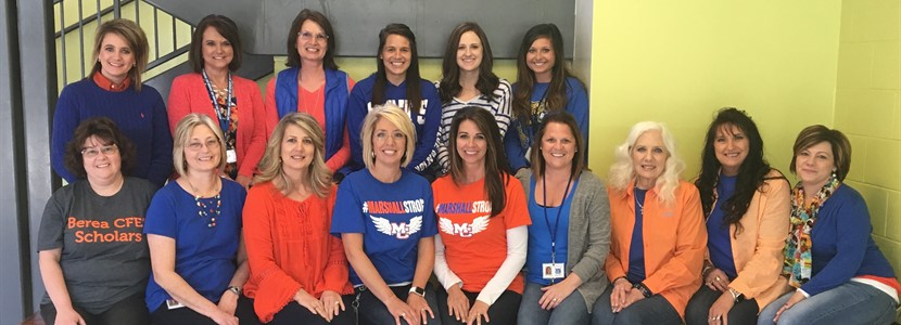 Administrators, teachers, and staff wore blue and orange in honor of Marshall County High School and joined in the National Day of Action Against School Violence on April 20th.