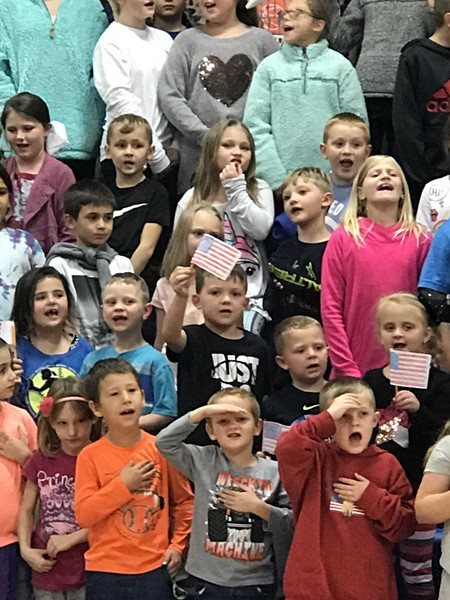 Students attended a Veteran's Day program on November 9, 2018 in the gym.