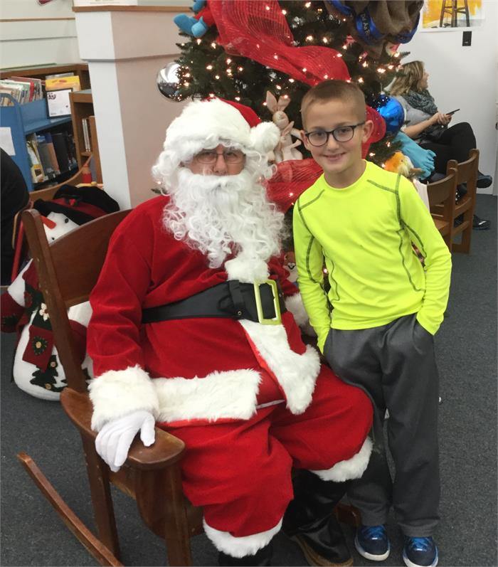 We enjoyed hot chocolate, snacks, Santa, and good books!